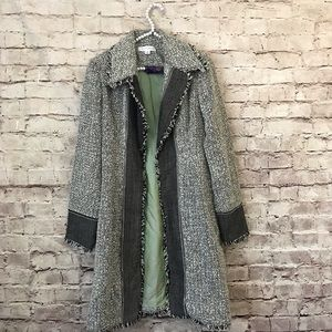 White House Black Market 10 Fringe Tweed Coat Boho